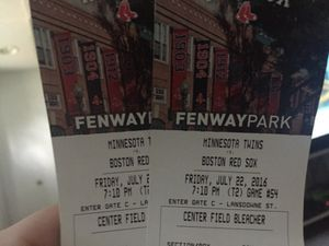 Two tickets for soxs vs twins Friday July 22 for Sale in Framingham, MA