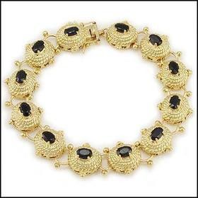 Gorgeous Womens 18K Yellow Gold Over Sterling Silver 7.0 CTW Sapphire 7 Inch Designer Bracelet for Sale in Detroit, MI