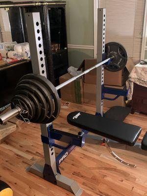 300Lbs Olympic Weight Set & Pro Weight Bench Combo for Sale in Laurel, MD