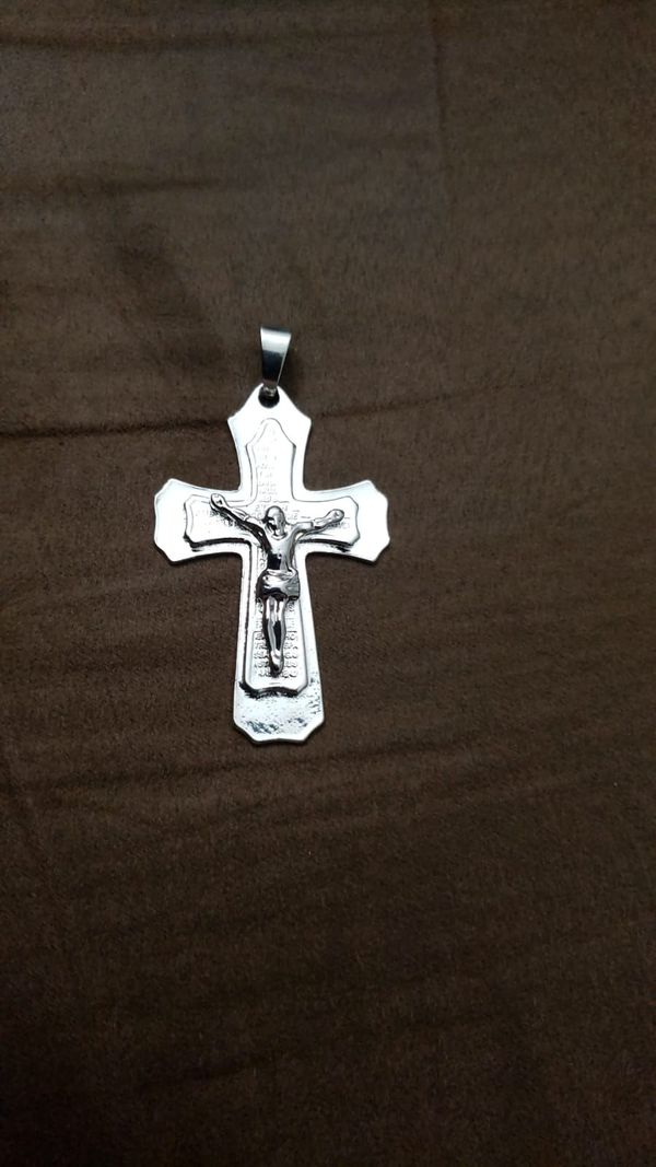 New European and American fashion men's silver cross pendant fast and necklace