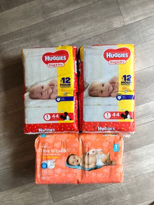 New - 3 Packages Size 1 Diapers - Huggies Snug n Dry and CVS for Sale in Cardiff, CA