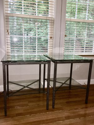 Two Glass Metal End Tables for Sale in Falls Church, VA