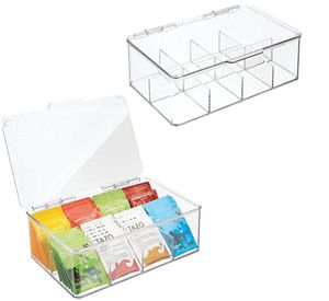 mDesign Stackable Plastic Storage Bin Box for Kitchen Cabinets, Countertops, Pantry - Organizer Holds Beverage Bags, Cups, Pods, Packets, Condiment A for Sale in Las Vegas, NV