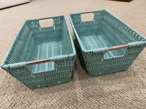 Tiffany blue wicker baskets for Sale in Irvine, CA