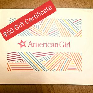 **$50** AMERICAN GIRL DOLL STORE GIFT CERTIFICATE / CARD for Sale in Plainfield, IL