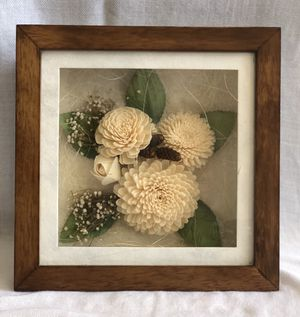 Flowers Shadow Box Picture Art Home Decor Wooden frame, glass display, artificial flowers. for Sale in El Cajon, CA