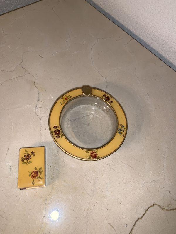 Vintage ashtray and match box