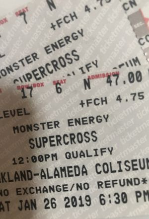 2 Motocross Tickets For Sale For Today 1/26/18 for Sale in Oakland, CA