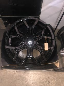 BRAND NEW set (4) Gloss Black 22 inch Dub Rims for only $1100!!! for Sale in Tacoma,  WA