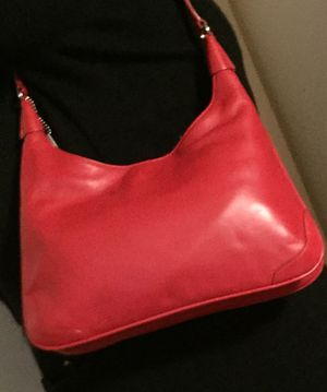 Red leather shoulder bag by coach for Sale in Silver Spring, MD