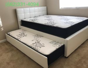 Full/twin white trundle bed w. Orthopedic mattresses included for Sale in Newman, CA