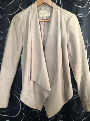 Women's Michael Kors Suede Drape front jacket tan beige size Medium Excellent condition for Sale in San Gabriel, CA
