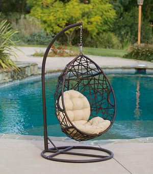 Hanging Egg Chair with Stand & Cushion Outdoor Patio Porch Wicker Swing Seat for Sale in Santa Monica, CA