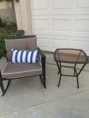 Wicker Patio Rocking Chair and Coffee Table for Sale in Bakersfield, CA
