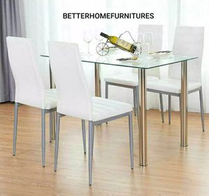 Brand new 5-piece modern dining table, dining room table, dining set, kitchen dining table set with glass tabletop and 4 chairs. for Sale in Fort Lauderdale, FL