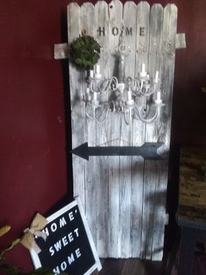 Wood refinished fence with chandelier and decor 72 inch tall $30 home sweet home $10 for Sale in Phoenix, AZ