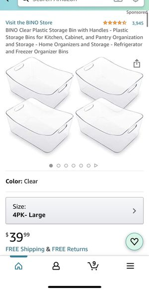 BRAND NEW! BINO Clear Plastic Storage Bin with Handles - Plastic Storage Bins for Kitchen, Cabinet, and Pantry Organization and Storage - Home Organi for Sale in Fountain Valley, CA