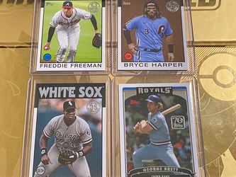 4 Card Lot Frank Thomas George Brett Freddie Freeman Bryce harper for Sale in Stockton,  CA