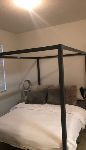 Queen size dark grey canopy bed frame for Sale in Opa-locka, FL