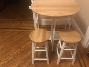 3 piece foldable kitchenette on wheels with 2 Bar Stools for Sale in Kearny, NJ