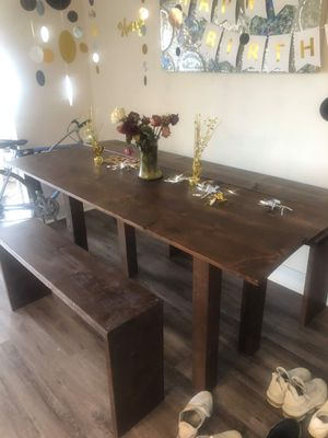 Wood Dining Table with Benches for Sale in Los Angeles, CA