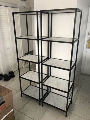 Two metal and faux marble bookcases for Sale in Hillsboro Beach, FL