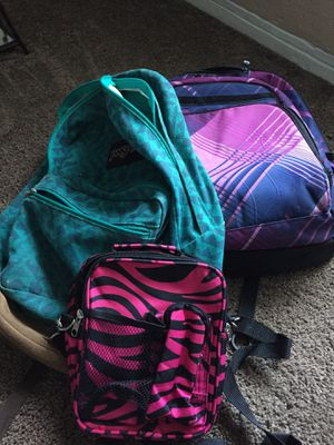 2 back packs & one lunch box for Sale in Saint Petersburg, FL