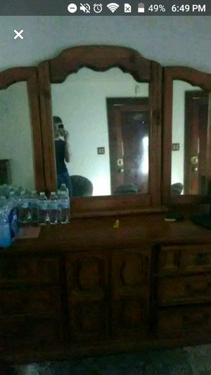 Old wooden dresser with mirror for Sale in Hannibal, MO
