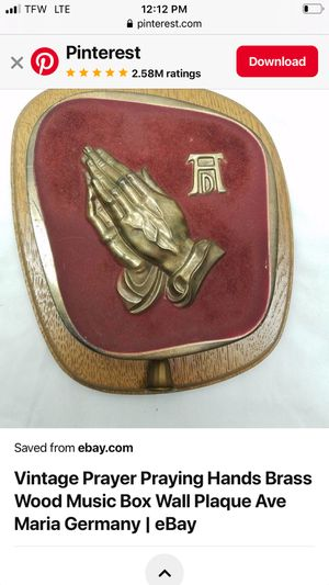Vintage prayer praying hands wood music wall plaque antique for Sale in Gulfport, MS