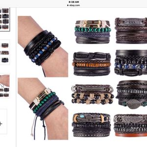 Mens Leather Bracelets Sets Of 4 , 5 & 6 , Reserve Yours Before Christmas , Pickup In San Pedro for Sale in Los Angeles, CA
