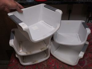 "FIVE FREE 12"" wide x 10"" x 6"" tall STACKABLE PLASTIC STORAGE BINS for Sale in San Dimas, CA"