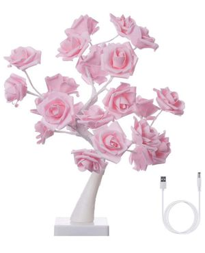 Finether Table Lamp Adjustable Rose Flower Desk Lamp|1.64ft Pink Tree Light for Wedding Living Room Bedroom Party Home Decor with 24 Warm White LED L for Sale in Aurora, CO