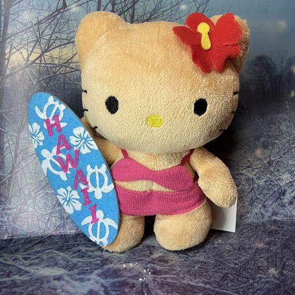 "New Ultra Rare Sanrio Hello kitty suntan surfboard 6"" plush toy doll."