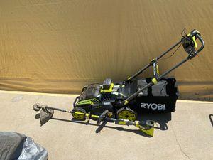 "Ryobi 20"" cordless / brushless lawn mower & weed wacker for Sale in Pasadena, CA"