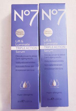 2 NIB's 1 oz No7 Lift and Luminate Triple Action Serum for Sale in Virginia Beach, VA