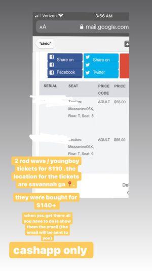 2 rod wave / nba youngboy concert tickets ! savannah ga 📍 for Sale in Bloomingdale, GA