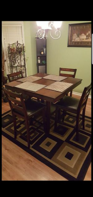 5 Piece Dining Table Set, Dark Wood for Sale in Greensboro, NC
