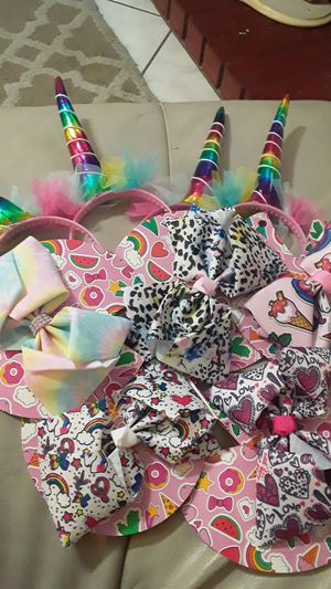 Beautiful giant girl bows and rainbow unicorn horn headband for Sale in Chino, CA