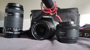 Canon 700d w/kit lense & extra lenses 55-250mm/50mm 1.8/Rode mic/eos bag for Sale in Los Angeles, CA