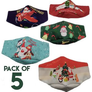 Reusable Washable Cotton Fabric Face Masks, Christmas 3D, Pack of 5 for Sale in Apple Valley, CA