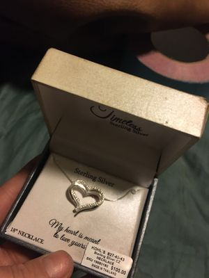 Timeless sterling silver heart necklace for Sale in Copperton, UT