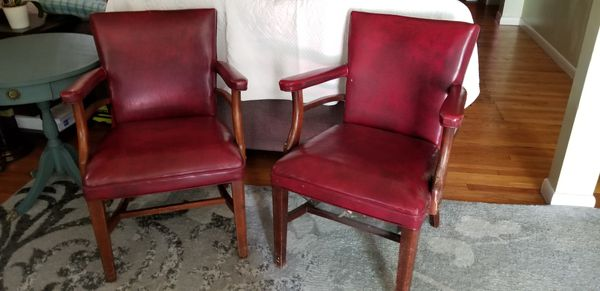 Red leather accent chairs