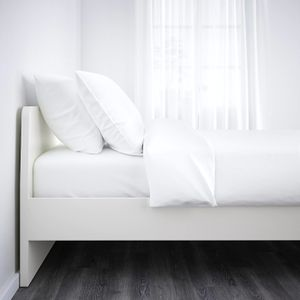 Ikea white bed frame Askvoll with slatted bed base for Sale in Santa Clara, CA