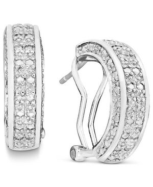 Diamond hoop earring sterling silver for Sale in Hyattsville, MD