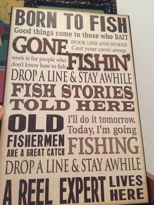 Fishing art picture with metal overlay letters. Man cave for Sale in Buckeye, AZ