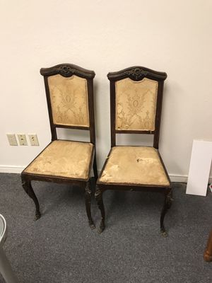 Antique chairs with brass detail for Sale in Dallas, TX