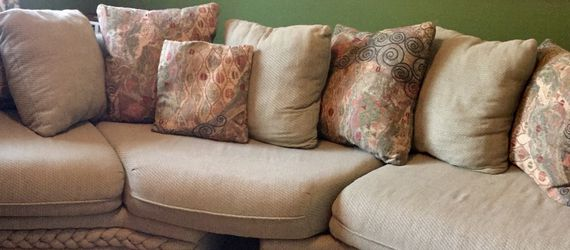 Two piece sectional couch in sage green for Sale in Katy,  TX