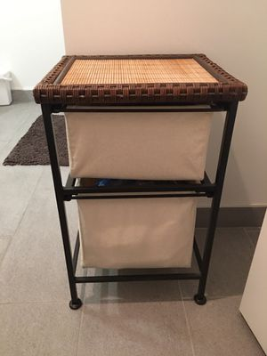 """Wrought Iron, Linen and Wicker storage unit and end table. Super convenient and stylish. 16x16x26"""" Cash or Venmo only. Must be willing to pick up fro for Sale in Hoboken, NJ"""