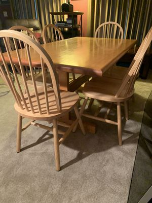 Solid wood 3x5 kitchen table & 6 Windsor chairs for Sale in Brentwood, TN
