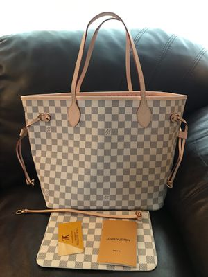 Louis Vuitton LV Damien Azur White Checkered Neverfull MM Tote Bag Purse Handbag for Sale in Hinsdale, IL